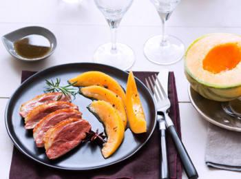 Magret de canard aux epices et au Melon caramelise