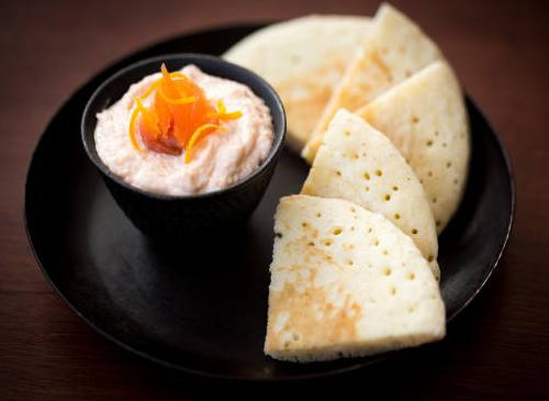 rillette saumon orange blini