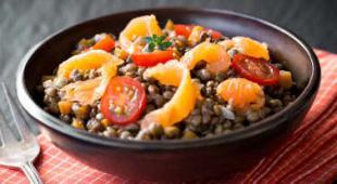 Salade de lentilles au saumon et yaourd