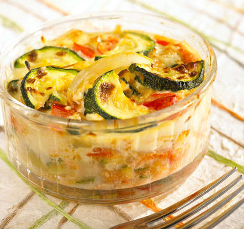 gratin pain tomate courgette