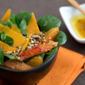 salade de mâche aux oranges et mimolette
