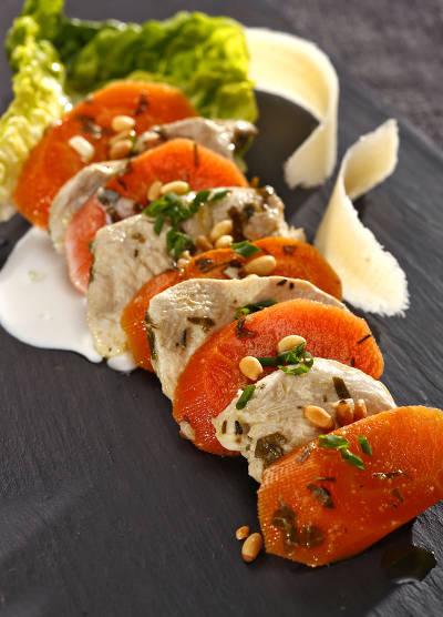 Salade carottes volaille confites au lait de coco