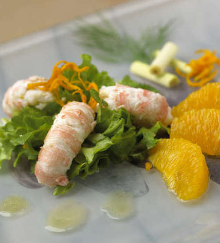 salade langoustine orange