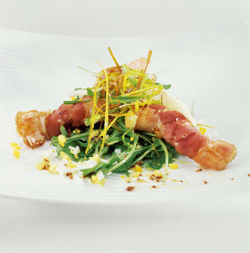 salade mesclun langoustine