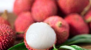 Pink Chinese lychee fruit