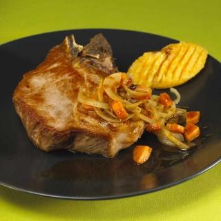 Echine de porc au cidre, purée pommes et céleri