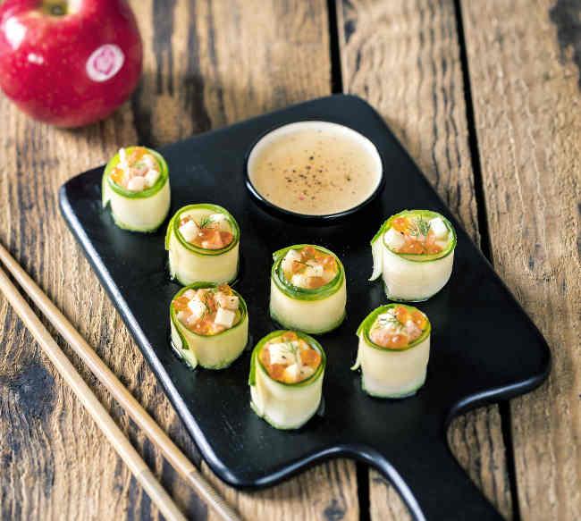 Maki de concombre saumon pomme