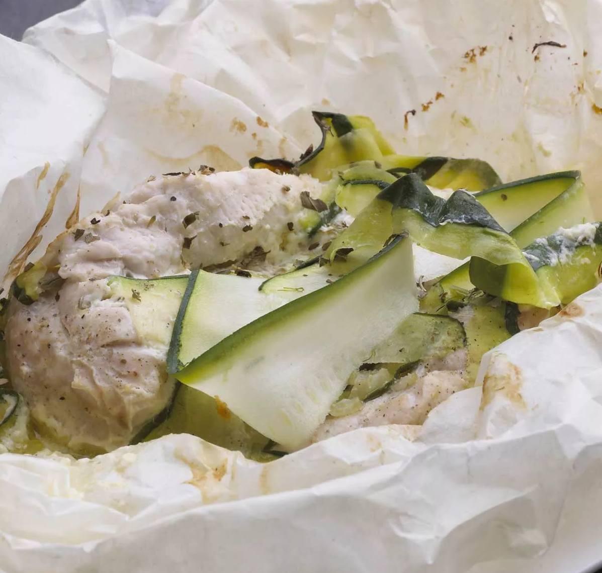 Papillote de poulet à la creme beurre de citron vert