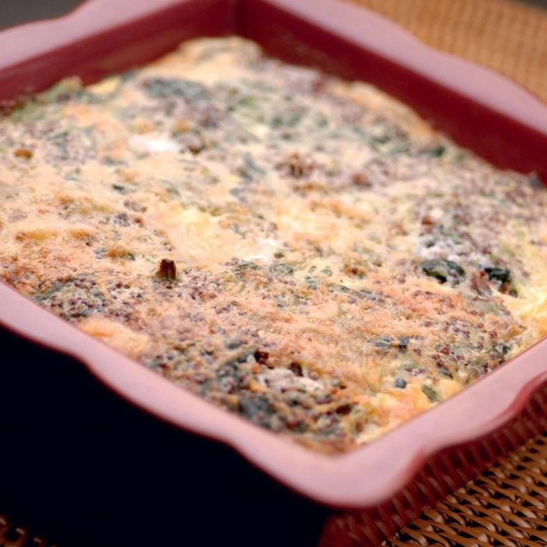 Gratin quinoa epinard