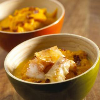 Croustillants de langoustines puree carotte curcuma