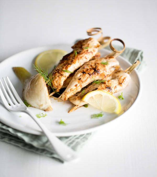 Aiguillettes de poulet marinées au yaourt miel fenouil