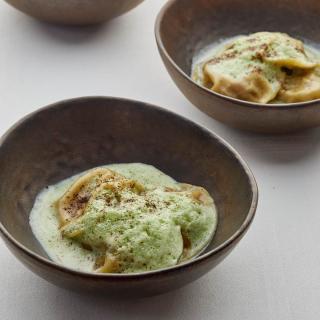 Ravioles de châtaignes et champignons au persil